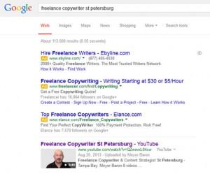 Screenshot of Google search: Freelance copywriter St Petersburg