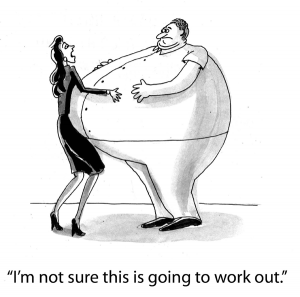 As this cartoon of a fat man & a skinny woman shows, pursuing the wrong target is not helpful.