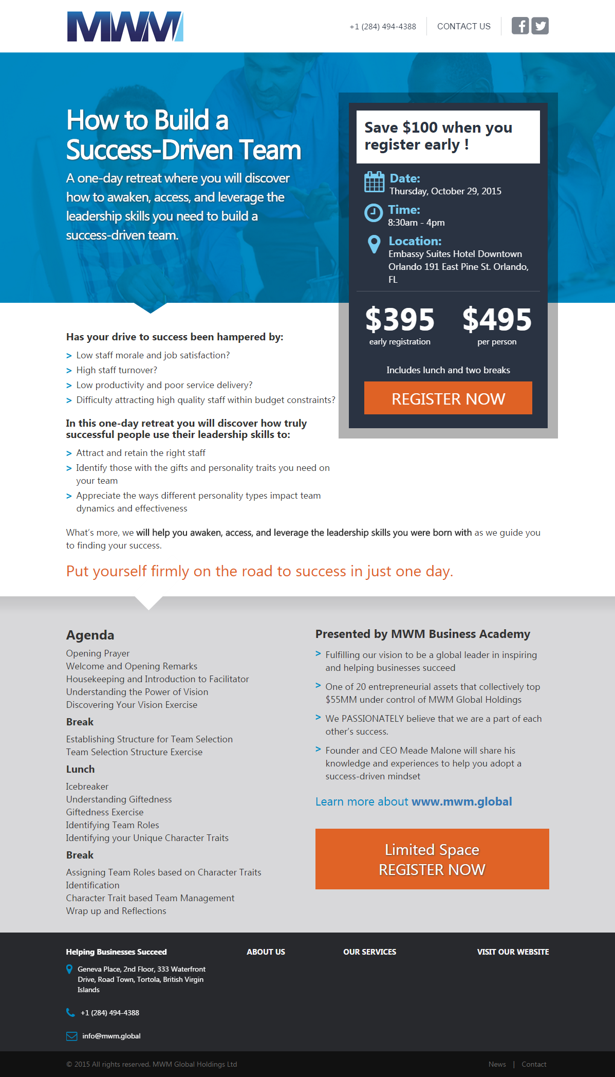 Hybrid landing page/call to action for conference registration