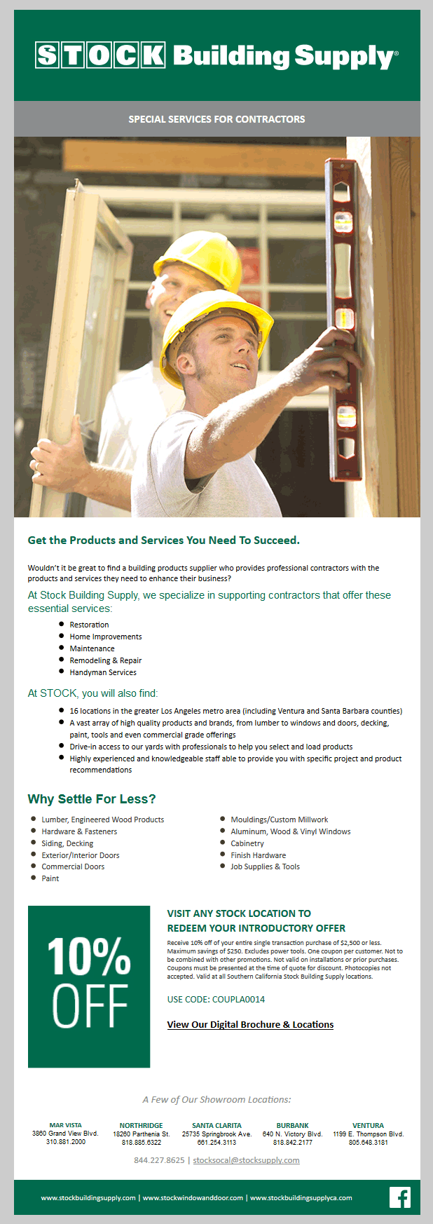 Special services for contractors email