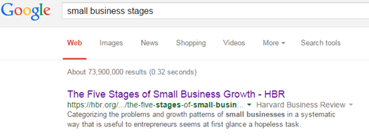 "results of Google search for ""small business stages"""