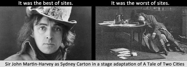 It was the best of sites. It was the worst of sites. Images of Sir John Martin-Harvey as Sydney Carton in a stage adaptation of A Tale of Two Cities